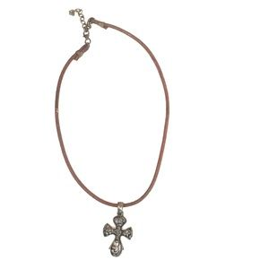 Gothic Cross Necklace Leather